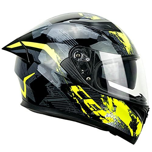 CGM Casco integral 316X Speed Spray, negro y amarillo neón, XL (61-62 cm)