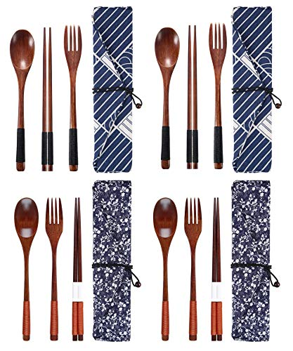 MISAZ 4 Set Wooden Flatware Chopsticks Spoon Fork Set Japanese Style Tableware Travel Utensils with Pouch for Kitchen,Camping,Picnic,Office,School or Home Use
