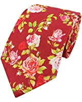 Men's Tie for Wedding Blossom Flowers Rose Printing Cotton Floral Necktie, Red