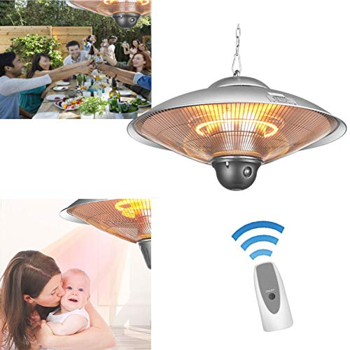WANGXIAO Electric Patio Heater, Carbon Heater Electric Infrared radiant heater 2 Heat Settings IP24 Protection with Remote Control for Outdoor Garden