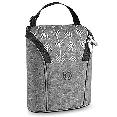 Lifevitee Insulated Breastmilk Cooler Bag Waterproof Baby Milk Bag Freezer Keeps Bottles Warm or Cool Fits 2 Large Baby Bottles Up to 9 Ounce for Daycare Travel Nursing Mothers Storage?Grey