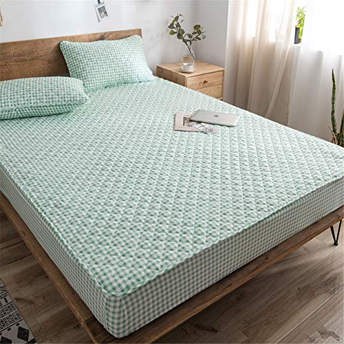 YCDZ Mattress Protective Cover, Anti-allergic, Breathable, Anti-bugs and Mites, No Odor, Suitable for All Bed Types (Green grid,100x200cm)