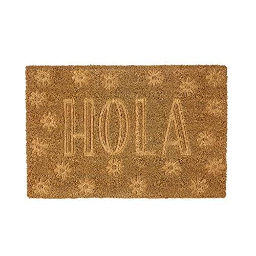 H HANSEL HOME Felpudo para Puerta Entrada Antideslizante para Entrada de Fibra de Coco 100% Natural - Hola 40x60 cm