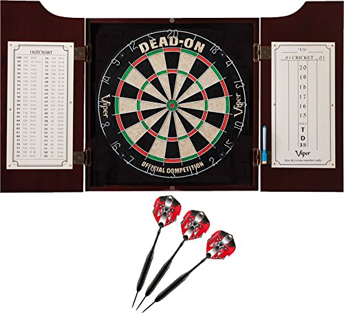 Viper Hudson All-in-One Dart Center: Classic Solid Wood Cabinet & Official Sisal/Bristle Dartboard...