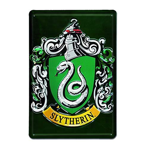 Logoshirt - Harry Potter - Slytherin - Classic - Logo - Retro - Blechschild Vintage - 20x30 - Lizenziertes Originaldesign