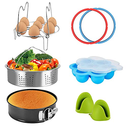 Pressure Cooker Accessories Set Steamer Basket, Egg Bites Mold, Egg Rack, Silicone Mini Oven Mitts, Springform Pan Fits for 6/8 Qt with 2 Pack Sealing Ring for 5 or 6 Quart IP Pot Models