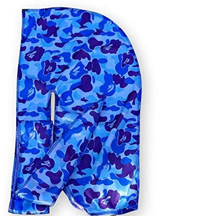 Silky Designer Durag – (Multiple Designs) | 360 Waves (Blue Camo)