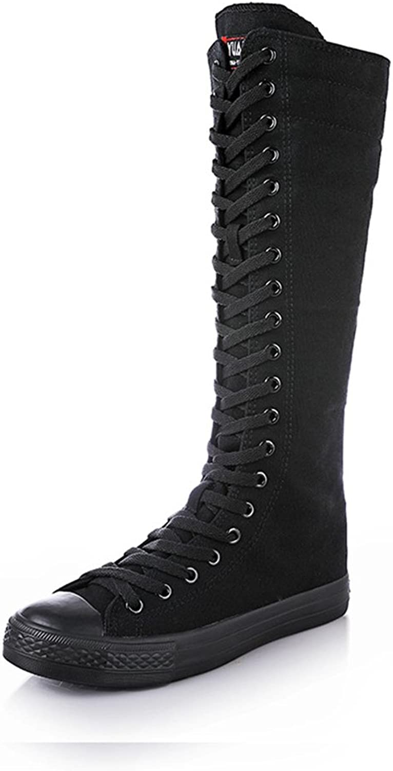 AGoGo Knee High Woman Boots Tall Classic Canvas Sky High Lace up Stylish Punk Flat Sneaker Boots