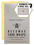 Organic Beeswax Food Wraps with Bamboo Storage Box | 3 pc. Reusable | Natural, Eco Friendly, Sustainable alternative to plastic wrap | Dye-Free