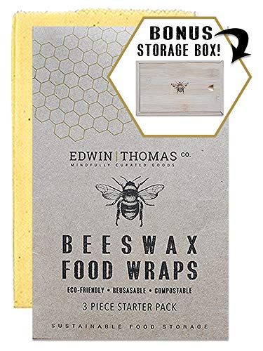 Organic Beeswax Food Wraps with Bamboo Storage Box | 3 pk. Reusable | Natural, Eco Friendly, Sustainable Alternative to Plastic wrap | Dye-Free