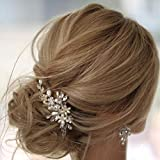 Earent Bride Wedding Crystal Hair Pins Silver Pearl Hair Pieces Flower Headpieces Bridal Hair Accessories for Women and Girls
