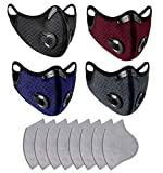 4 Pack Sports Face Madks W/Activated Carbon F_ilters for Outdoors, Multi