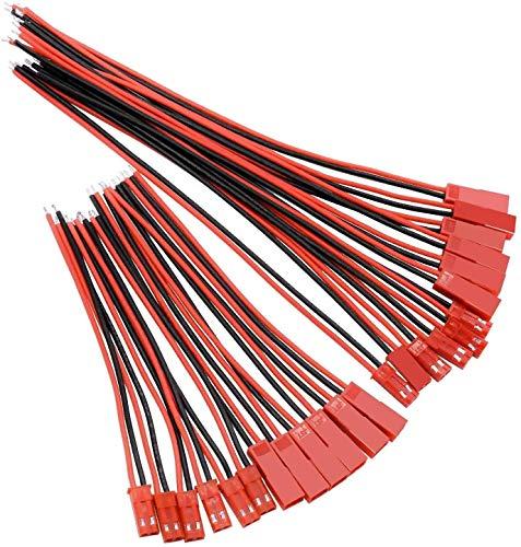 WEKON 24 PCS JST 2 Pin Stecker Mikro Elektronik Männlichen und Weiblichen Steckverbinder Stecker Buchse, für LED Lampe Streife RC Spielzeug Batterie 10cm, 15cm
