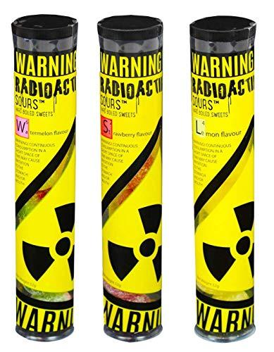 Radioactive Sours - Mega-Extrem saure Süßigkeit - Super Sauer Sour Bonbons - 3er Pack - Geschmacksrichtungen Zitrone, Erdbeere, Wassermelone (3x52g)
