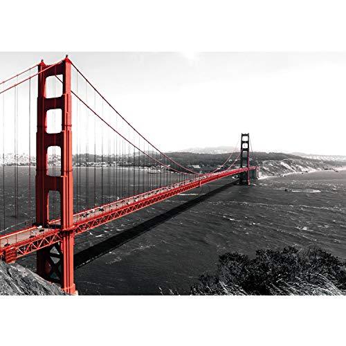 Vlies Fototapete PREMIUM PLUS Wand Foto Tapete Wand Bild Vliestapete - Golden Gate Bridge Wasser USA schwarz-weiß. Rot - no. 429, Größe:368x254cm Vlies