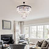Maxax 5-Tier 12 Lights Crystal Chandeliers, Modern Contemporary Hanging Pendant, Adjustable Chandeliers Ceiling Light Fixture, E12 Base, for Dining Room, Living Room, Black