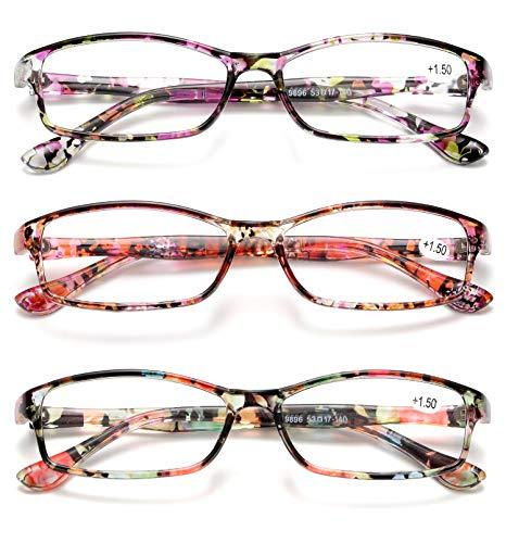 KOOSUFA Lesebrille Damen Herren Blumen Qualität Rechteckige Anti Müdigkeit Brille Lesehilfe Sehhilfe Retro Designer Mode Vollrandbrille mit Stärke 1.0 1.5 2.0 2.5 3.0 3.5 4.0 (A-3 Farben Set, 2.5)