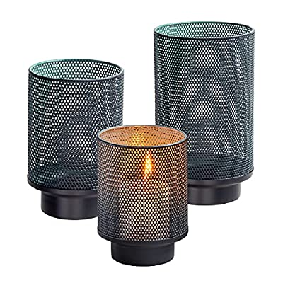 Set of 3 Metal Candle Holders ,Decorative Bronze Hurricane Pillar Candleholder Sets ,Vintage Style Perfect for Tabletop Centerpieces Home Decor Wedding Parties Events (Dots Pattern-3 Pack) from QRF