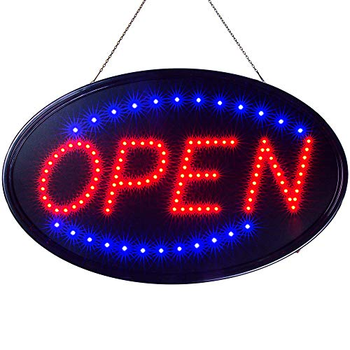 Ultima LED Neon Open Sign for Business: Jumbo Lighted Sign Open with Static and Flashing Modes
