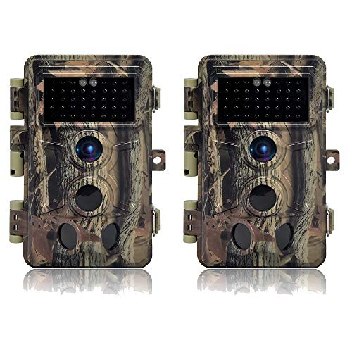 DIGITNOW! Wildkamera 16 MP 1080P HD wasserdicht, Wildlife Jagd Scouting Game Kamera mit 40pcs IR LED Infrarot Nachtsicht bis zu 20 m, Überwachungskamera 120° Weitwinkel-Erkennung (2 Stück)