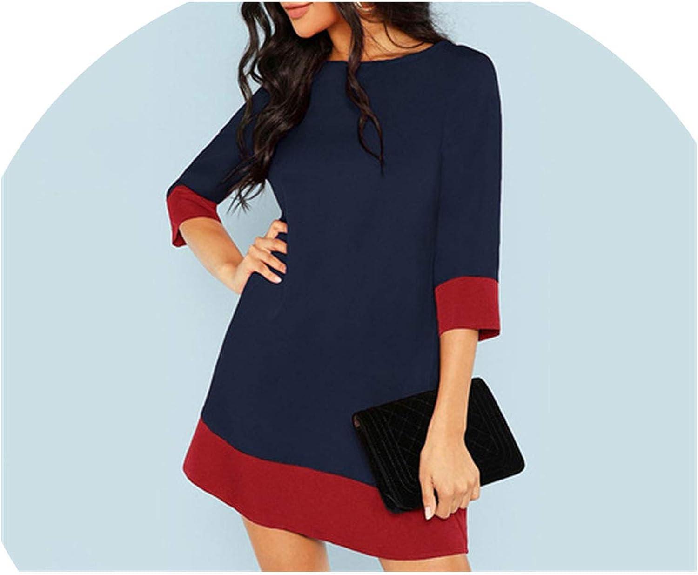 I'll NEVER BE HER Navy Elegant Office Lady Contrast Trim Tunic 3 4 Sleeve Dress Autumn Workwear Women Dresses