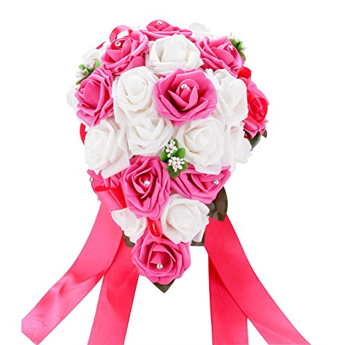vLoveLife Wedding Bouquet Mix White & Fuchsia PE Rose Flowers Bridal Bridesmaid Bouquets Artificial Flower Satin Ribbon Decor Handmade Posy Pearl Rhinestone Plant Leaf Vine Decor