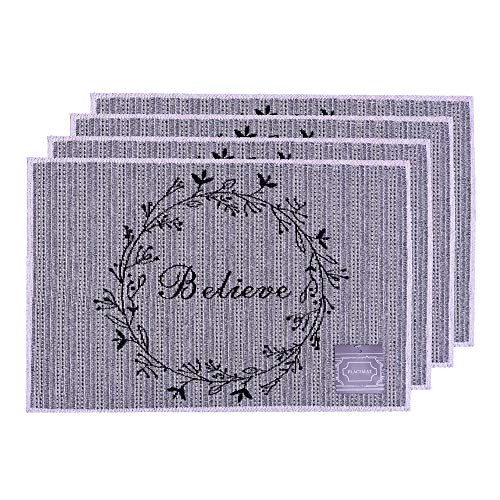 Set of 4, Blessed Design Printed Tapestry placemats for Dining Table, Table mat for Dining Room Easy to Clean, Machine Washable. (Placemats: 13' x 19', Believe)