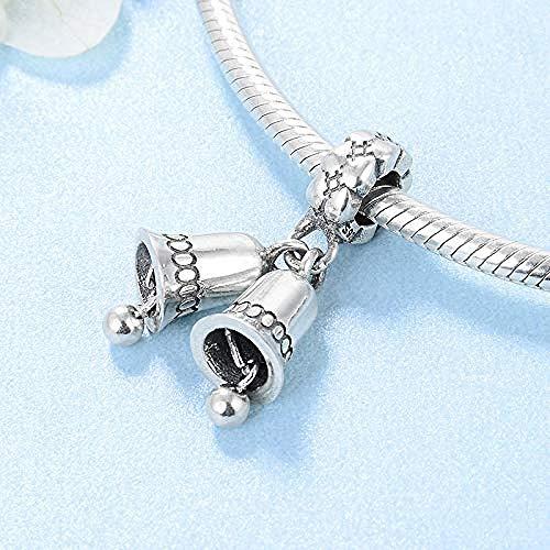 Zilveren bedels met kralen, 925 sterling zilver Kleine bel Feestcadeau Fijne hangers Armbanden Sieraden Maken Diy Beste cadeau voor meisjes Tieners Diy Beste cadeau voor meisjes Tieners