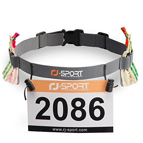 RJ-Sport Triathlon Startnummernband Laufgurt mit Nummernhalter & 6 Gel-Halter für Joggen Radfahren Marathons (Grua)