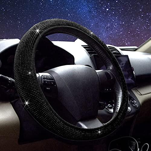 Cute Steering Wheel Cover for Women, TintJungle Universal Elastic Diamond Steering Wheel Cover with Sparkling Rhinestone- Anti-Slip Wheel Protector (Fit 14.5-15 Inch Steering Wheel) (Black Diamond)