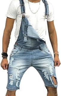 Babao Men's Denim Short Dungaree,Mens Jeans Bib Overall Shorts Distressed Retro Ripped Jumpsuit Regular Fit Playsuit