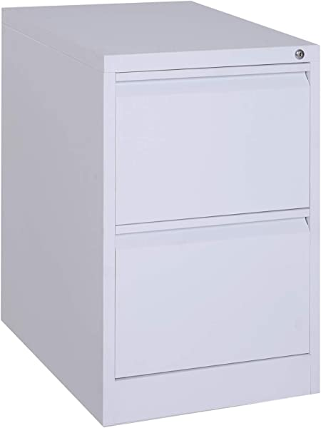 Vinsetto 28 Metal 2 Drawer Vertical Locking Filing Cabinet White