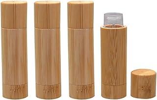 Natural Bamboo Lip Balm Tubes,5.5g Empty Refillable DIY Lipstick Tube Holder Deodorant Case For Cosmetic Lipstick Lip Glos...