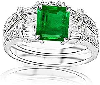 2.33 Carat t.w 14K White Gold Baguette And Round Brilliant Diamond Engagement Ring and Wedding Band Set w/a 1.5 Carat Princess Cut Green Emerald Heirloom Quality