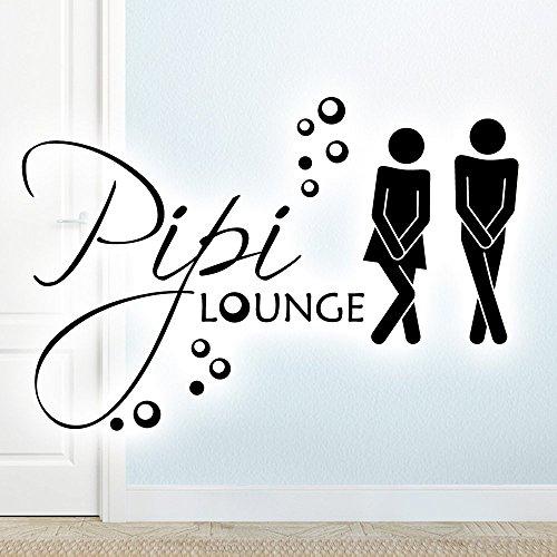 Wandora WC Türaufkleber Mann & Frau PIPI Lounge I schwarz (BxH) 17 x 11 cm I Badezimmer Bad Sticker Aufkleber selbstklebend Wandaufkleber Wandsticker G019