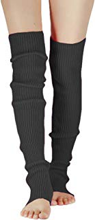 Song Qing Girls Teen 80s Dance Plain Ribbed Knit Crochet 71cm Hole Leg Warmers