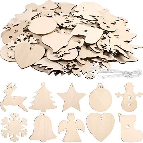 Tatuo 120 Pieces Unfinished Wooden Ornaments Christmas Wood Ornaments Hanging Embellishments Crafts for DIY, Christmas Hanging Decoration in 10 Shapes