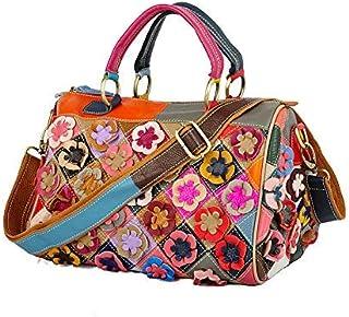 BBGSFDC Bolsas para Mujer Cuero de Vaca Handle Bag Zipper Flower Patchwork Flower/Floral Fashion Retro Daily Holiday Rainb...