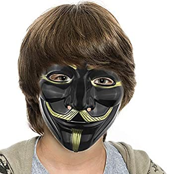 Mask for Costume - Anonymous Face Mask for Halloween V for Vendetta DIY Toy Head Mask  Black