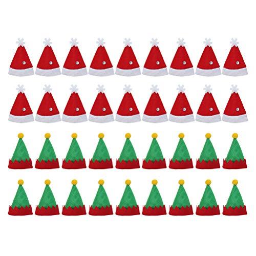 Amosfun 36 Stück Mini Weihnachtsmützen Festliche Mode Weihnachten Lollipop Hüte Elf Design Lollipop Top Wraps Topper Süßigkeiten Verpackung Hüte Wein Flaschenverschlüsse