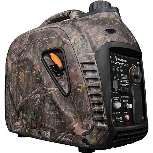 Westinghouse iGen2200 Super Quiet Portable Inverter Generator TrueTimber Kanati Camouflage 1800 Rated 2200 Peak Watts-Gas Powered, Camo, CARB Compliant