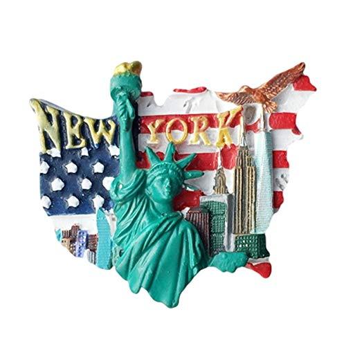 YJYQ Nevera Imán,Material De Resina,Adhesivo Decorativo Nevera Imán Etiqueta Cocina Accesorios para Pizarra Blanca Oficina, Bandera De EE. UU, Estatua De La Libertad, Recuerdos Innovadores