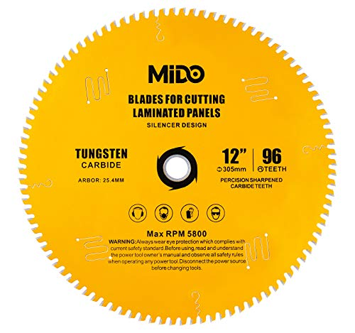 Saw Blade 12-Inch CircularSawBlade 96 Teeth sawblades for Purpose Hard & Soft Wood Unique Noise Cancellation Design