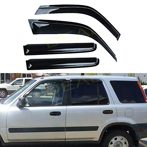DEAL AUTO ELECTRIC PARTS 4-Piece Set JDM Style Vent Smoke Window Visor, Side Window Sun Rain Guard With Outside Mount Tape-On Type, Custom Compatible With For 1997-2001 CR-V