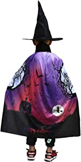 Bestffie WizardCloak with Hat for Kids Halloween Costumes, Witch Cape for 3-12 Years Children