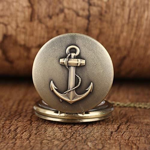J-Love Vintage Bronce SailingTheme Reloj de Bolsillo de Cuarzo Números Romanos Display Collar Reloj Exquisito Colgante Relojes Dropshiping