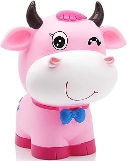 BESPORTBLE Mignon Vache Tirelire en Plastique Zodiaque Ox Figure Animaux Figurine Tirelire pour lanniversaire 2021 Nouvelle Ann/ée D/écoration De Table Rose