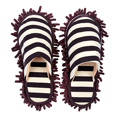 Selric Cozy Washable Dust Mop Slippers Stripe Closed Toe Coffee, Multi-Sizes Multi-Colors Available, Chenille Fibre Detachable Mop Soles, Indoor House Slippers 9 7/9 Inches Size:5.5-8.5