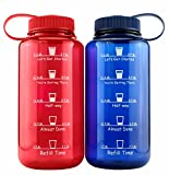 Cornucopia Brands Timed Water Bottles 32-Ounce Combo Pack (2-Pack, Blue/Red); Motivational Time Marker Tracker Goal Sports Bottles, Non-Toxic BPA-Free Tritan Plastic