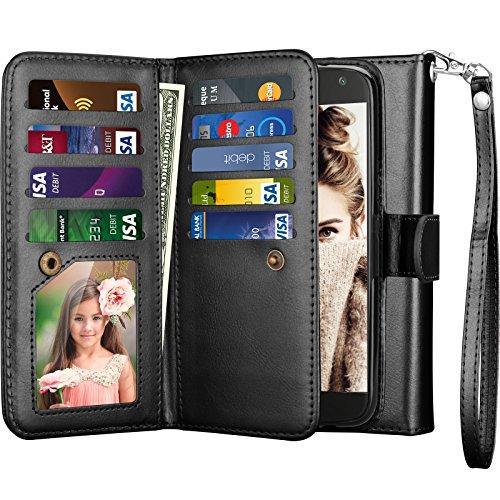 Njjex for Moto X4 Wallet Case, for 2017 Motorola Moto X 4th Generation Flip Cover, PU Leather [9 Card Slots] Credit Card Holder [Detachable] [Kickstand] Phone Case & Wrist Lanyard for Moto X4 - Black